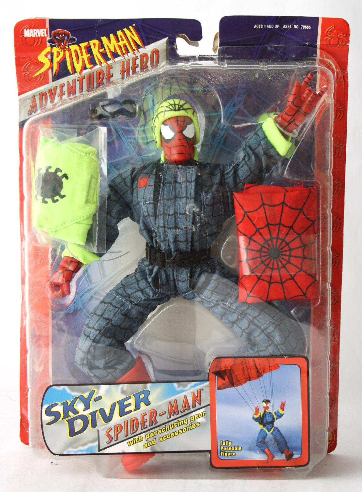 RARE 2003 SPIDERMAN ADVENTURE HERO SKY DIVER SPIDER FIGURE TOY BIZ NEW SEALED