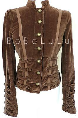 RIVER ISLAND BROWN VELVET CORSET BACK JACKET STEAMPUNK MILITARY PIRATE QUIRKY 12