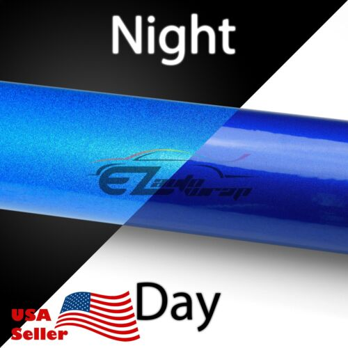 "*36/""x48/"" Reflective Blue DIY Vinyl Car Wrap Sticker Decal Graphic Adhesive Film"