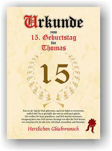 Geschenkidee-zum-15-Geburtstag-Urkunde-ausgefallenes-besonderes-Geschenk-NEU