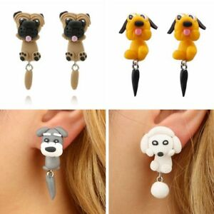 Women-Puppy-Pet-Polymer-Clay-Ear-Stud-Girl-3D-Animal-Dog-Earrings-Dangle-Gift-c