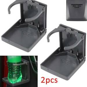 2X-Gray-Folding-Drink-Cup-Holder-Mount-Boat-Marine-Caravan-Car-RV-UK-New