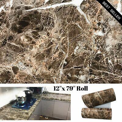 Brown Marble Granite Contact Paper Countertop Vinyl Self Adhesive Film Counter