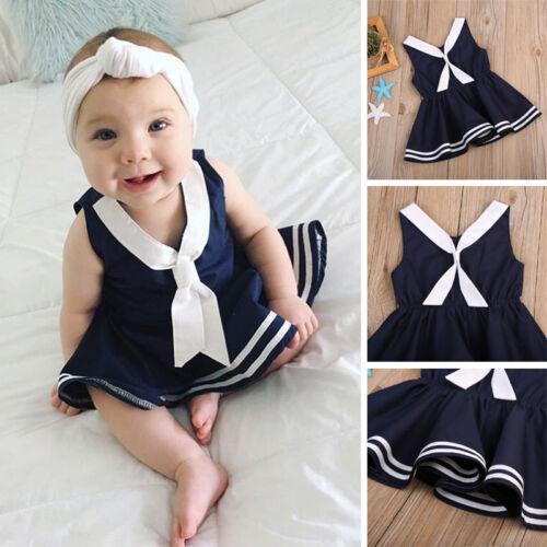 Toddler Baby Kids Girls Summer Fashion Dress Sleeveless Sailor Costume Skirts