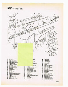 SAVAGE MODEL 111 SERIES J RIFLE WITH EXPLODED VIEW AND PARTS LIST ...