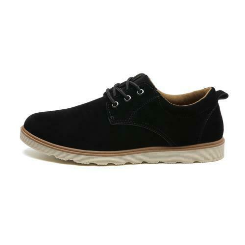 Retro Mens Low Top Leisure Faux Suede Leather Shoes Oxfords Work Lace up Flats D