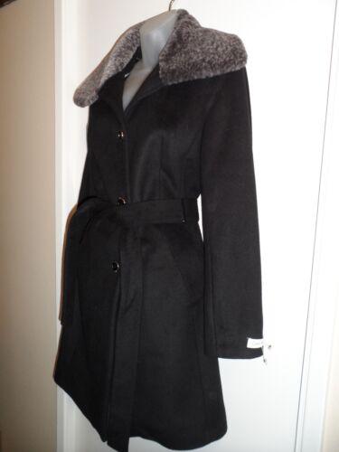lana Calvin nero Klein in Cappotto ecopelliccia Nwot Trench M grigio invernale Ck a8fdqza