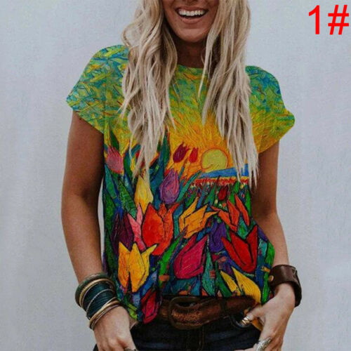Womens Boho Short Sleeve T Shirt Blouse Ladies Casual Floral Tee Tops Plus Sizes