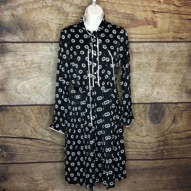 Modcloth Womens XL Tunic Dress Long Sleeve Black Geo Printed Tie Front NEW