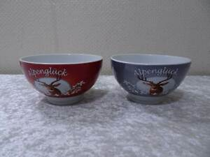 2-x-Porcelain-Design-Cereal-Bowl-Alpengluck-Country-House-Style-Deer