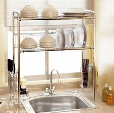 2 Tier Stainless Steel Dish Drying Rack Drainer Dryer Cultery Holder Organizer