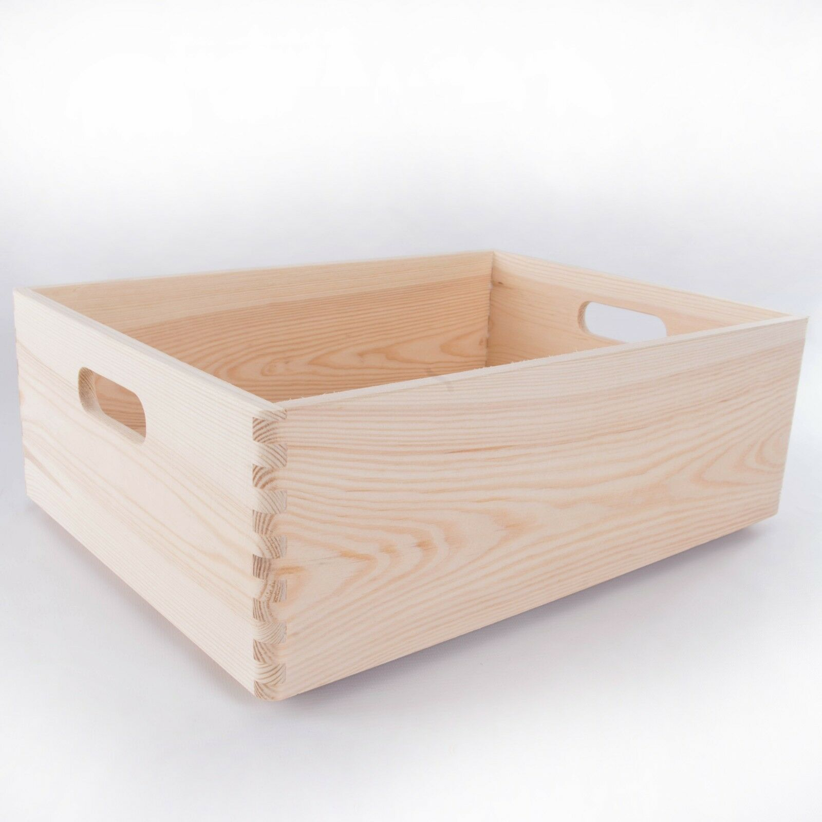 Large Wooden Storage Boxes     Plain Wood   Box with Lid   Crate Trunk Containers 792735
