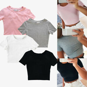 Women-Summer-Beach-Short-Sleeve-Blouse-T-Shirt-Slim-Gym-Sports-Crop-Tank-Top