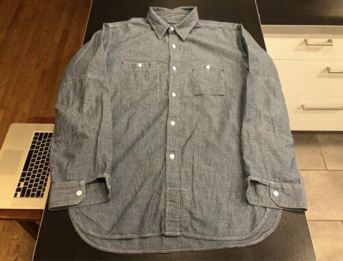 engineered garments chambray work shirt, L, large