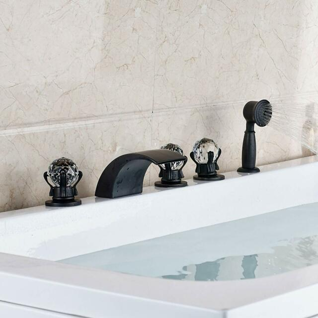 Oil Rubbed Bronze Deck Mounted Bath Tub Faucet With Hand Held Shower Ktf001