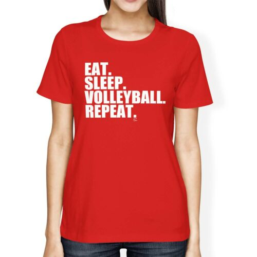 1Tee Womens Loose Fit Eat Sleep Volleyball Repeat T-Shirt