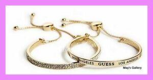GUESS-Jeans-Rhinestones-Bangle-Bracelet-Logo-Gold-Tone-Charms-NWT-set-of-2