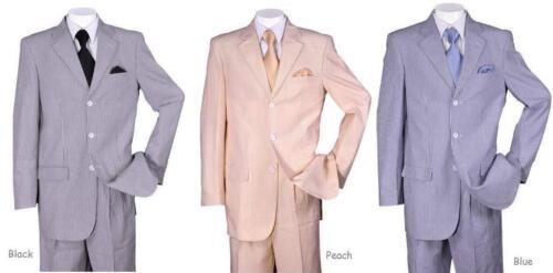 Black Peach Blue 38R~56L ST802 New Men/'s 3 button Seersucker Suit Jacket/&Pants