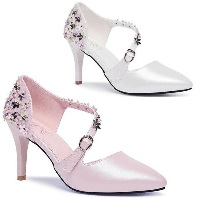 donna Metal Flower Pointy Toe Mid Heels Strap Buckle Wedding Party OL Pump scarpe