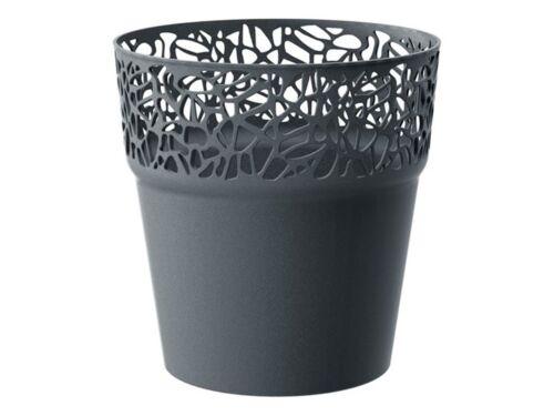 Modern Lace Flower Plant Pot 12cm Planter Holder Decor Plastic Graphite White UK