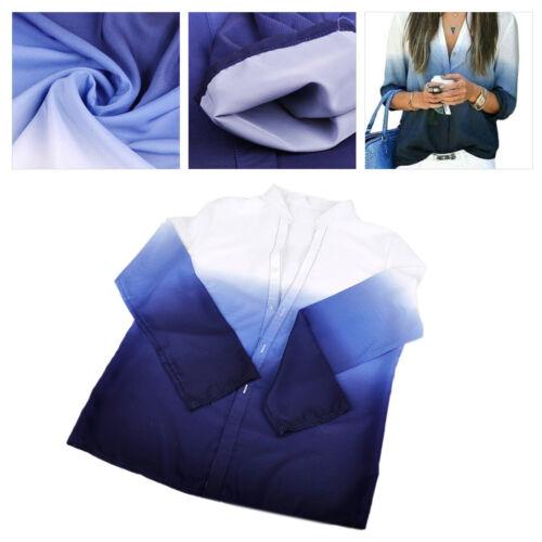 Damen Farbverlauf Bluse Blau Weiß Langarm V Ausschnitt Hemd Sommer Mode T-shirt