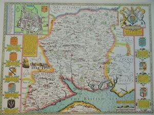 OLD-COPY-OF-JOHN-SPEED-1610-MAP-OF-HAMPSHIRE-WINCHESTER-TOWN-PLAN-NEW-FOREST