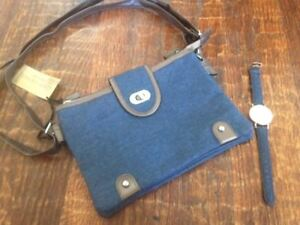 417427f394 NWT Gold Coast BLUE DENIM   METALLIC BROWN Shoulderbag PURSE + DENIM ...
