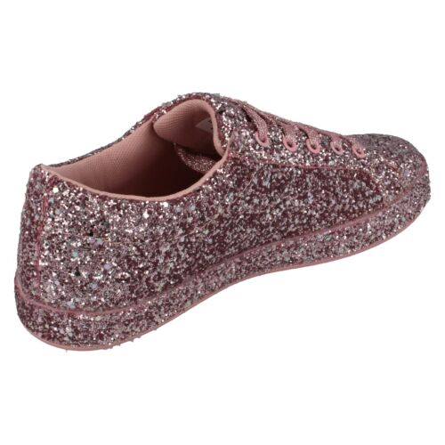 Ladies Pink Lace Up Glitter Spot On Fashion Trainers F7R100