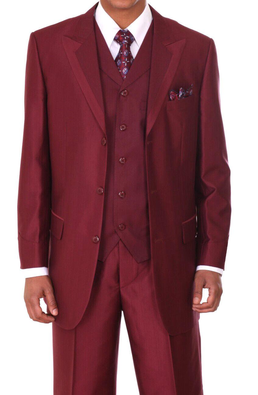 Men's 3 Button Two Tone Wool Feel Fashion Suit w  Vest 3pc Set 5907