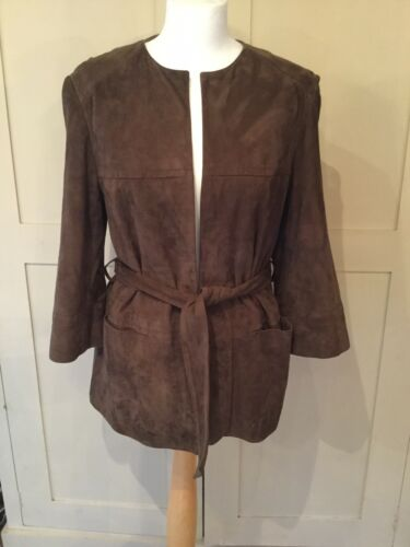 Size Suede Stylish Jaeger Soft Jacket Excellent Medium Condition Leather qS1XXEw