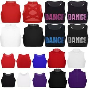 Girls-Kid-Crop-Top-Girls-Tank-Mock-Neck-Midi-Sports-Bra-Camisole-Sleeveless-Vest