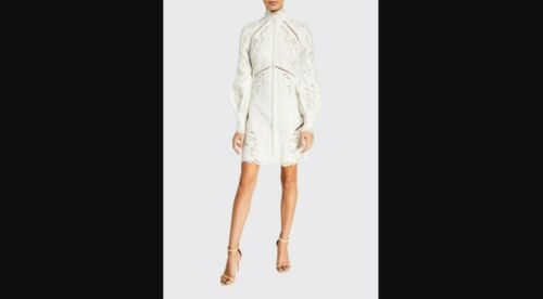 Zimmerman Super Eight Embroidered Mini Dress 0 (us