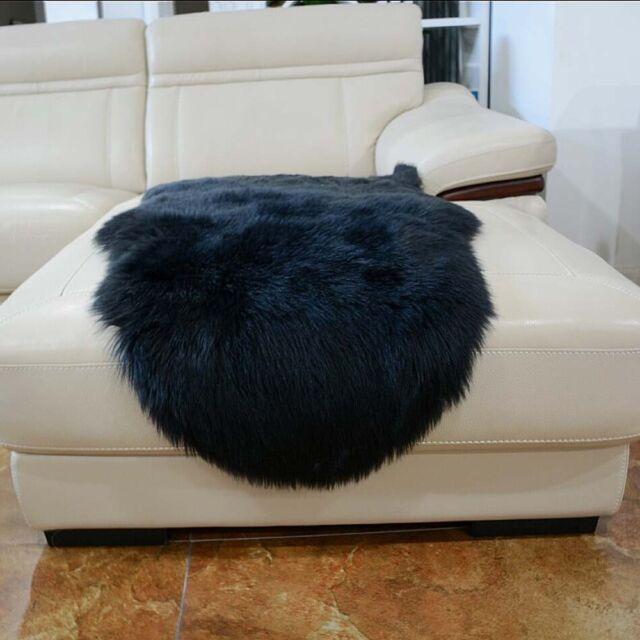 Large Black Faux Fur Area Rug Hairy Shaggy Rug Faux Sheepskin Carpet Washable