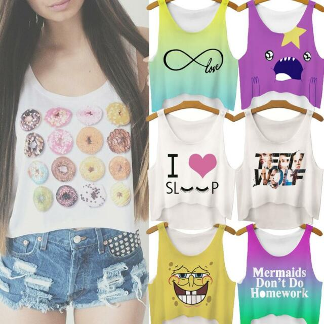 Sexy Summer Casual Women Emoji Cookie Tank Top T Shirt Blouse Cartoon Crop Vest