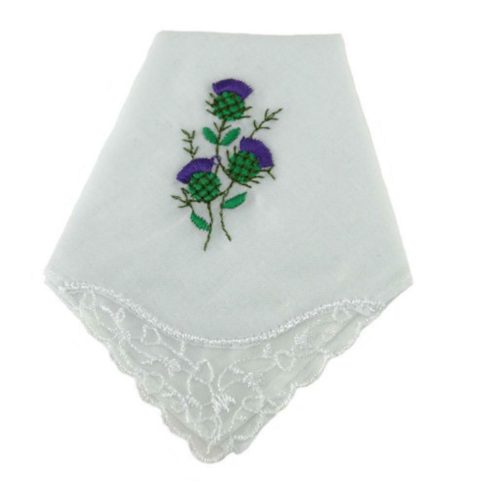 100% White Cotton Ladies Handkerchief with Scottish Thistle Embroidery