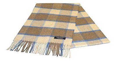 100% Cashmere Sciarpa - Beige/marrone/blu A Scacchi - Prodotte In Scozia