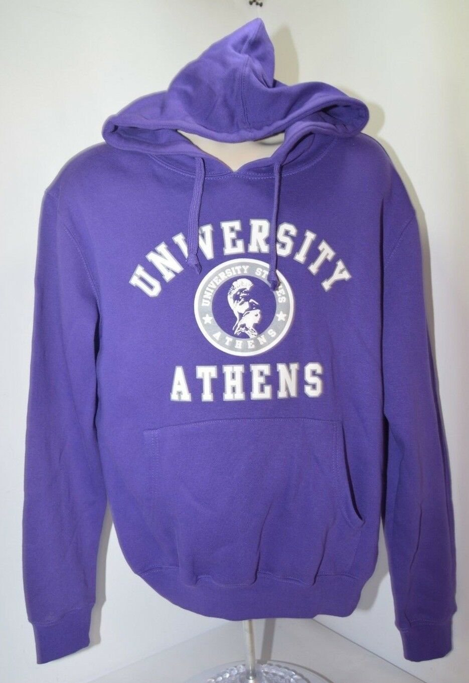 VTG TopLine Purple University Athens Hooded Sweatshirt Mens XL