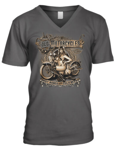 Vieille Motos Hot babes et bière froide Motard Fille Bikini Homme T-Shirt col V