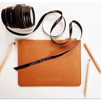 PERSONALISED Womens Ladies Genuine Leather Pouch Clutch Handbag Bag