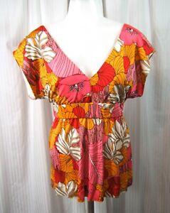 10e31654149def Tibi Sz. S Multicolor Floral Silk Jersey Empire Waist Top Shirt ...