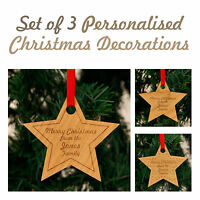 Personalised Christmas Decorations Star New Home Mr & Mrs Family Love