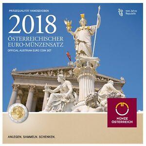 Osterreich-2018-KMS-1-Cent-bis-2-Euro-100-Jahre-Republik-im-Folder