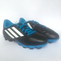 Adidas Conquisto Soccer Kids Youth Soccer Cleats Black Blue White Sz 5.5