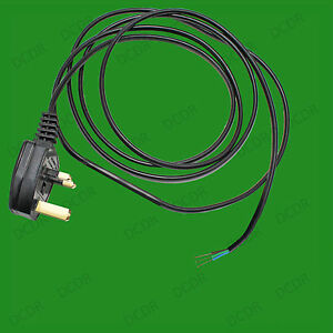 2m Black 5A Fused 3 Pin UK Moulded Plug With 3 Core Bare End Wire Power Lead