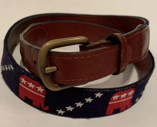 Smathers /& Branson Mens Garnet USC Needlepoint Leather Belt Accessories 40 New