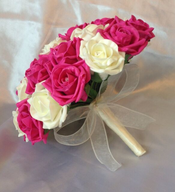 ARTIFICIAL FLOWERS HOT PINK/IVORY FOAM ROSE BRIDE WEDDING BOUQUET Diamante