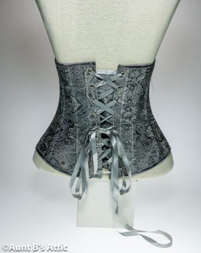 Corset Silver Grey Ladies Under Bust Boned Laced Back Waist Cincher Corset