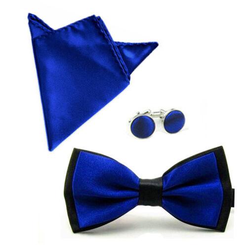 Herren Mode Satin Fliege Mit Taschentuch Einstecktuch Manschettenknöpfe Set