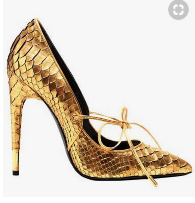 Wouomo oro Snakeskin Leather Pointed Toe SLip On High Heels Stilettos scarpe