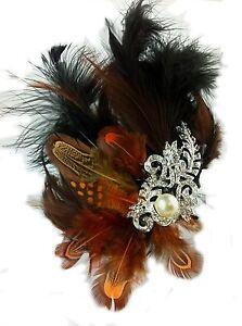 1-Fascinator-Pearl-Diamante-Designer-Tan-Black-Feathers-Australian-Made-Flapper